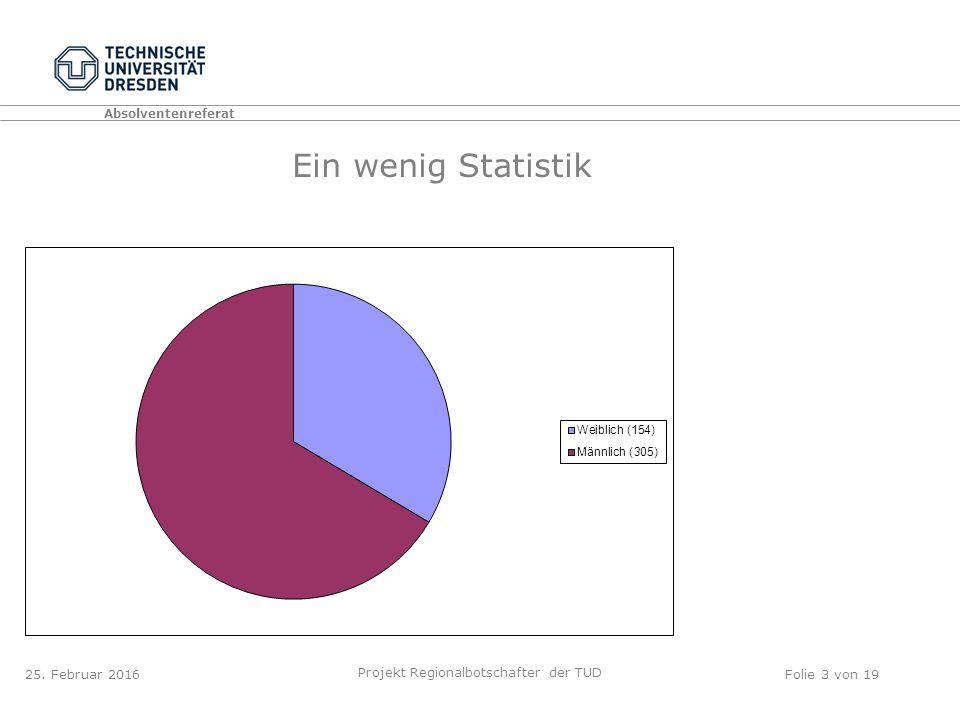 Absolventenreferat Projekt Regionalbotschafter der TUD Folie 3 von 19 Ein wenig Statistik 25.