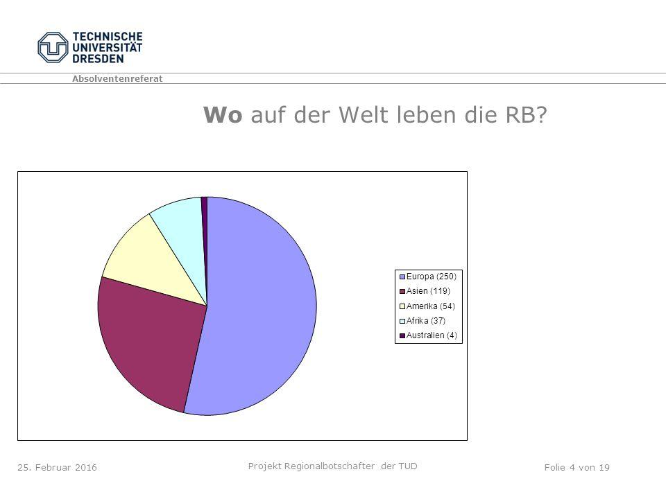 Absolventenreferat Projekt Regionalbotschafter der TUD Folie 4 von 19 Wo auf der Welt leben die RB.