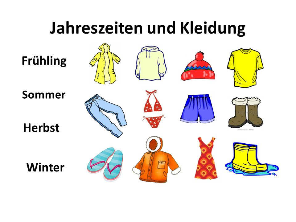 Jahreszeiten und Kleidung Frühling Sommer Herbst Winter