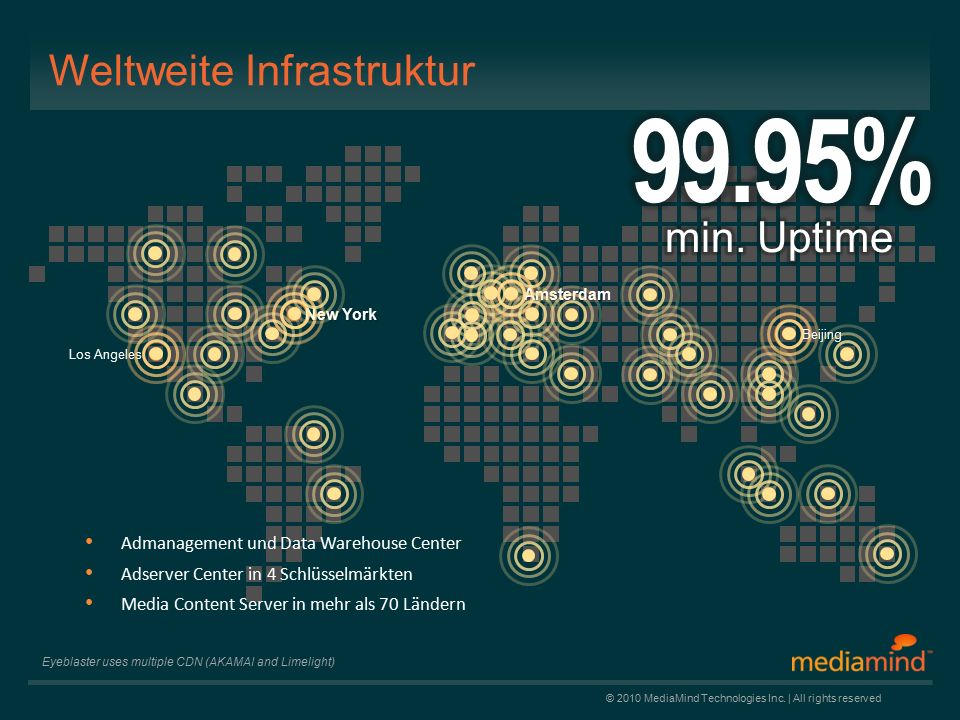 © 2010 MediaMind Technologies Inc. | All rights reserved Weltweite Infrastruktur Admanagement und Data Warehouse Center Adserver Center in 4 Schlüssel