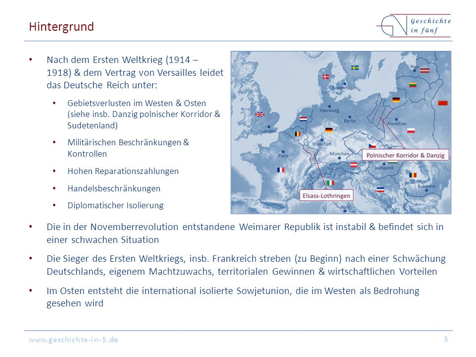 www.geschichte-in-5.de Hintergrund Nach dem Ersten Weltkrieg (1914 – 1918) & dem Vertrag von Versailles leidet das Deutsche Reich unter: Gebietsverlusten im Westen & Osten (siehe insb.