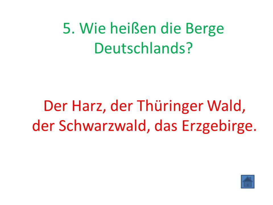 5. Wie heißen die Berge Deutschlands? Der Harz, der Thüringer Wald, der Schwarzwald, das Erzgebirge.