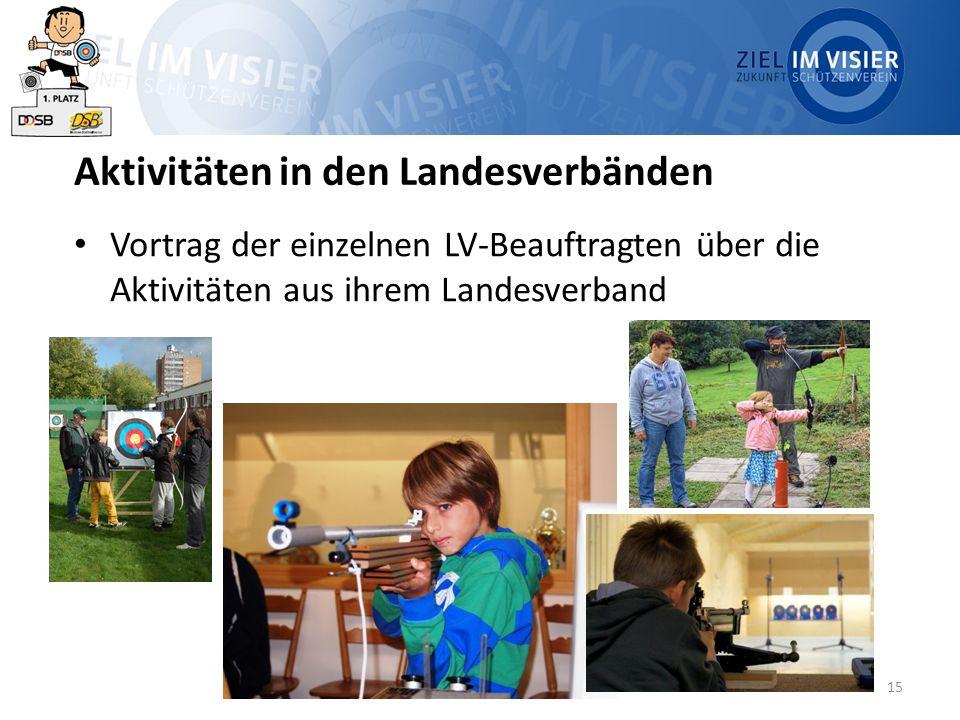 15 Aktivitäten in den Landesverbänden Vortrag der einzelnen LV-Beauftragten über die Aktivitäten aus ihrem Landesverband