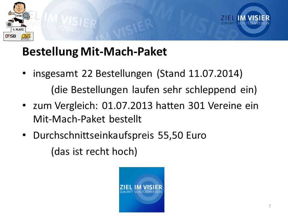 7 Bestellung Mit-Mach-Paket insgesamt 22 Bestellungen (Stand 11.07.2014) (die Bestellungen laufen sehr schleppend ein) zum Vergleich: 01.07.2013 hatten 301 Vereine ein Mit-Mach-Paket bestellt Durchschnittseinkaufspreis 55,50 Euro (das ist recht hoch)