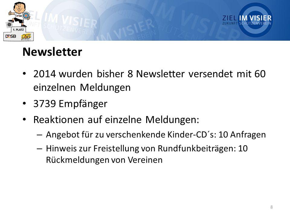 8 Newsletter 2014 wurden bisher 8 Newsletter versendet mit 60 einzelnen Meldungen 3739 Empfänger Reaktionen auf einzelne Meldungen: – Angebot für zu verschenkende Kinder-CD´s: 10 Anfragen – Hinweis zur Freistellung von Rundfunkbeiträgen: 10 Rückmeldungen von Vereinen