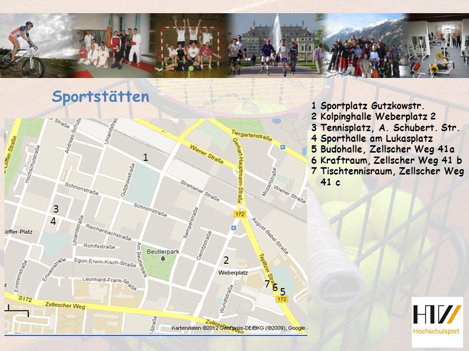 1 Sportplatz Gutzkowstr. 2 Kolpinghalle Weberplatz 2 3 Tennisplatz, A. Schubert. Str. 4 Sporthalle am Lukasplatz 5 Budohalle, Zellscher Weg 41a 6 Kraf