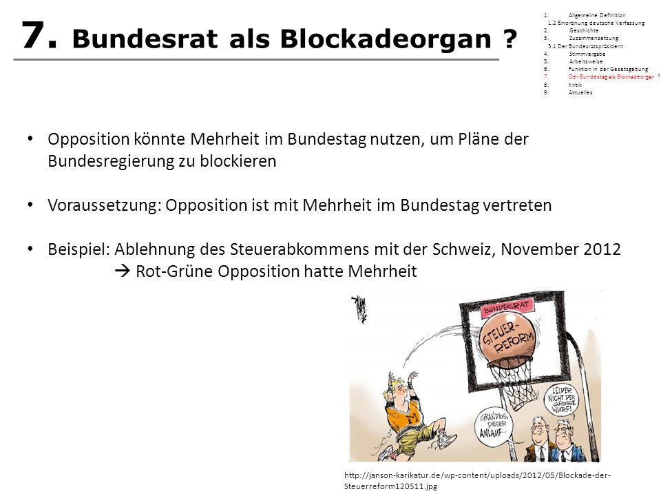 7. Bundesrat als Blockadeorgan ? Opposition könnte Mehrheit im Bundestag nutzen, um Pläne der Bundesregierung zu blockieren Voraussetzung: Opposition