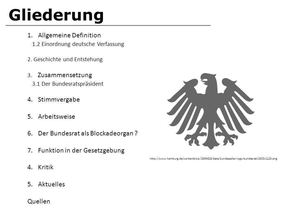 Gliederung 1.Allgemeine Definition 1.2 Einordnung deutsche Verfassung 2. Geschichte und Entstehung 3. Zusammensetzung 3.1 Der Bundesratspräsident 4.St