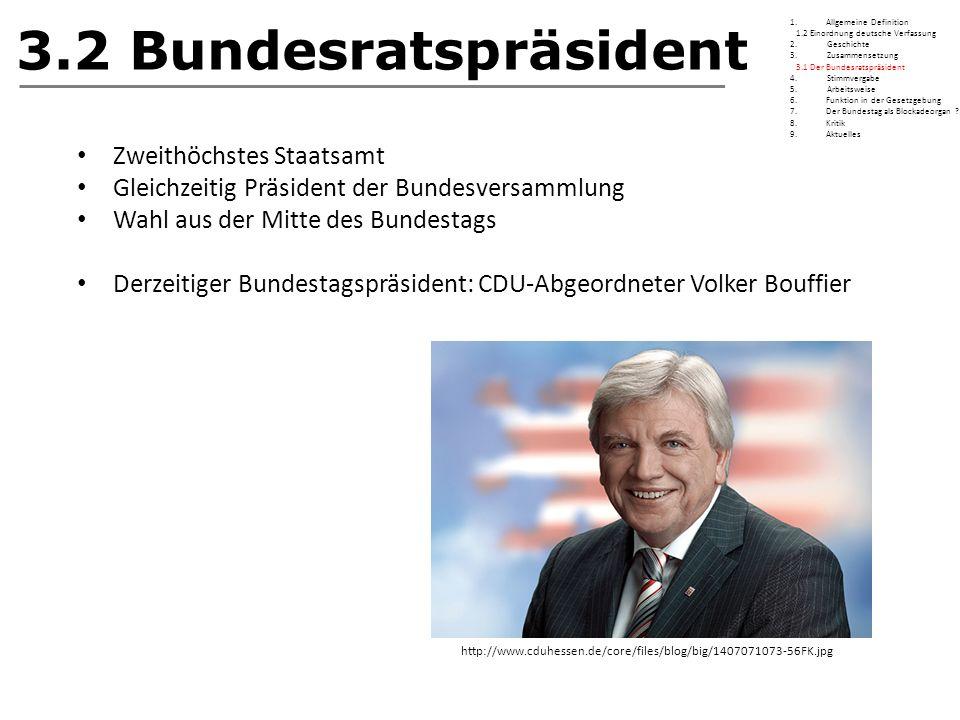 3.2 Bundesratspräsident Zweithöchstes Staatsamt Gleichzeitig Präsident der Bundesversammlung Wahl aus der Mitte des Bundestags Derzeitiger Bundestagsp