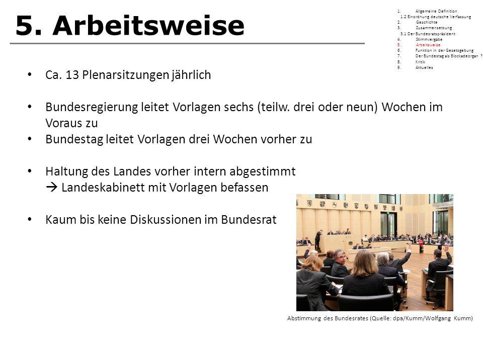 5. Arbeitsweise Ca. 13 Plenarsitzungen jährlich Bundesregierung leitet Vorlagen sechs (teilw. drei oder neun) Wochen im Voraus zu Bundestag leitet Vor