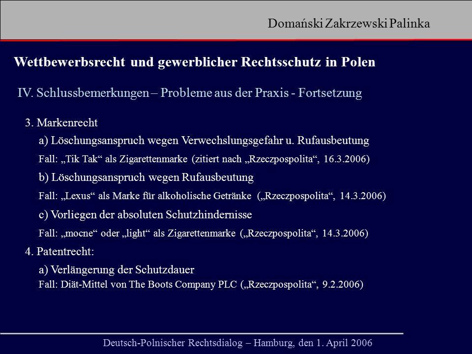 Domański Zakrzewski Palinka ÜBER UNS 3 Niederlassungen 155 Mitarbeiter 85 Rechtsanwälte 11 Partner Die Nummer 1 in allen polnischen Kanzlei-Rankings Marktpräsenz seit 1993 Unsere Mitarbeiter Deutsch-Polnischer Rechtsdialog – Hamburg, den 1.