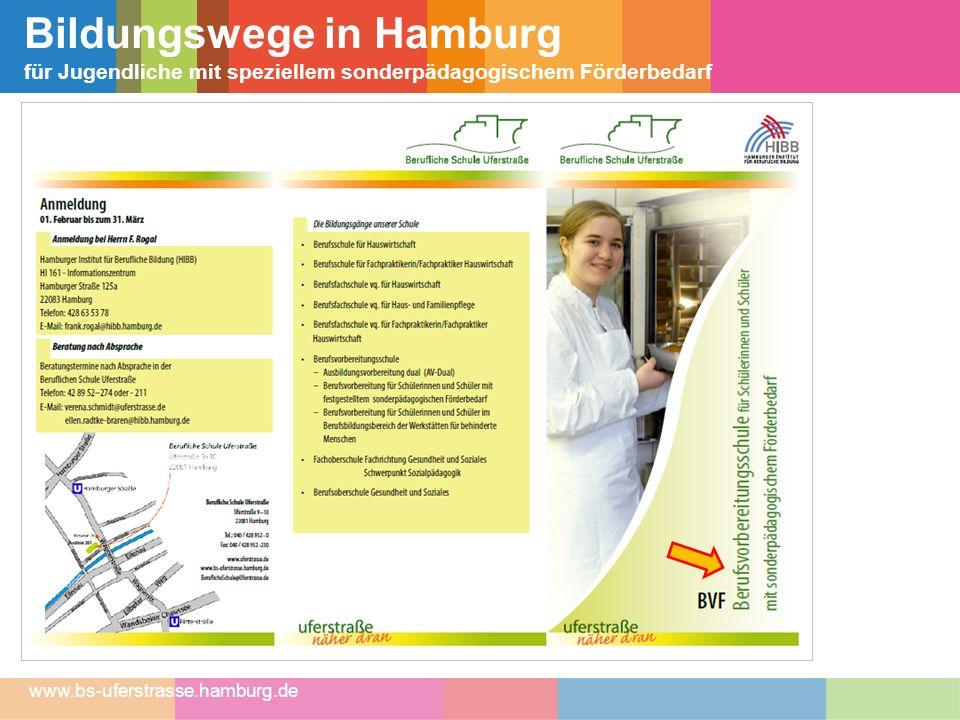 Bildungswege in Hamburg für Jugendliche mit speziellem sonderpädagogischem Förderbedarf www.bs-uferstrasse.hamburg.de