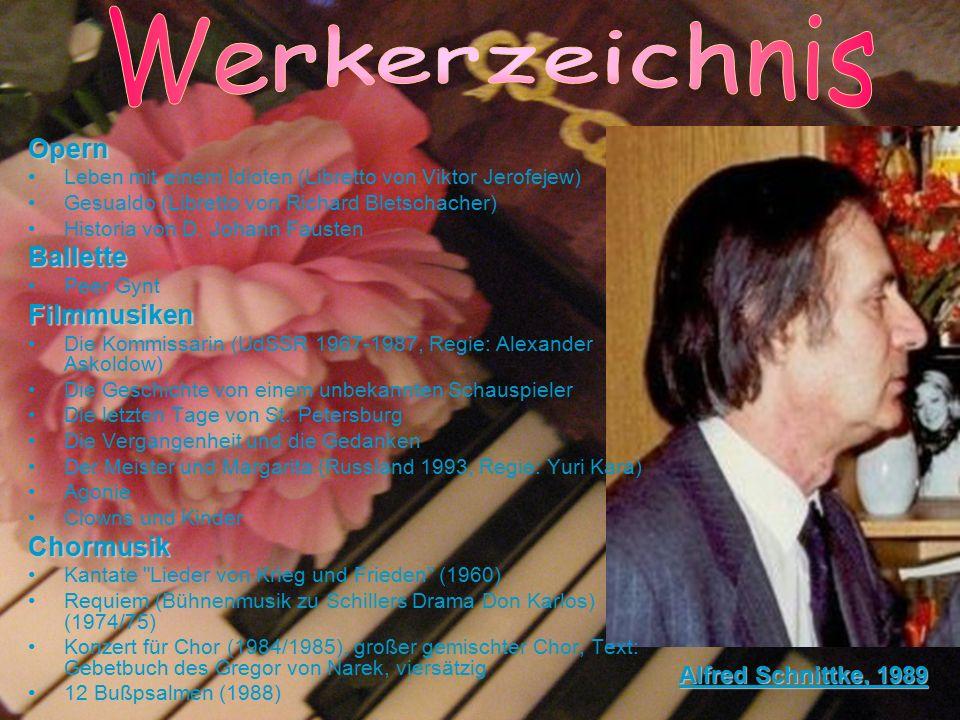 Opern Leben mit einem Idioten (Libretto von Viktor Jerofejew) Gesualdo (Libretto von Richard Bletschacher) Historia von D. Johann FaustenBallette Peer