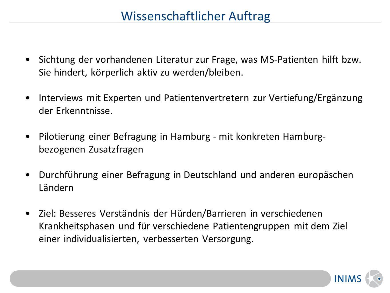 Wissenschaftlicher Auftrag Sichtung der vorhandenen Literatur zur Frage, was MS-Patienten hilft bzw.