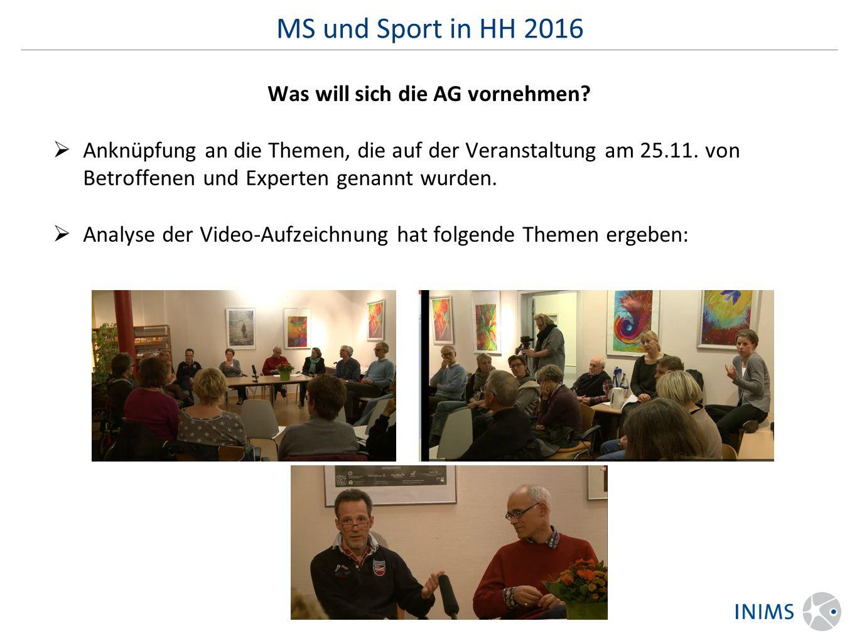 MS und Sport in HH 2016 Was will sich die AG vornehmen.