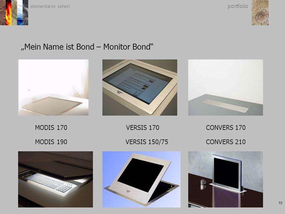 "elementares sehen 10 portfolio ""Mein Name ist Bond – Monitor Bond MODIS 170VERSIS 170CONVERS 170 VERSIS 150/75CONVERS 210MODIS 190"
