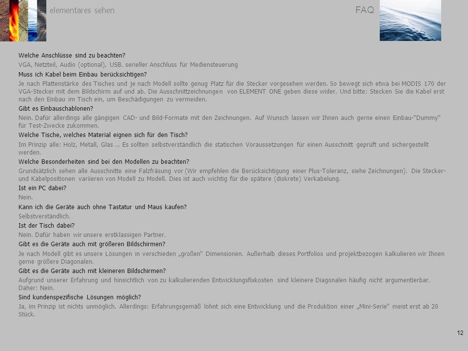 elementares sehen 12 FAQ Welche Anschlüsse sind zu beachten.