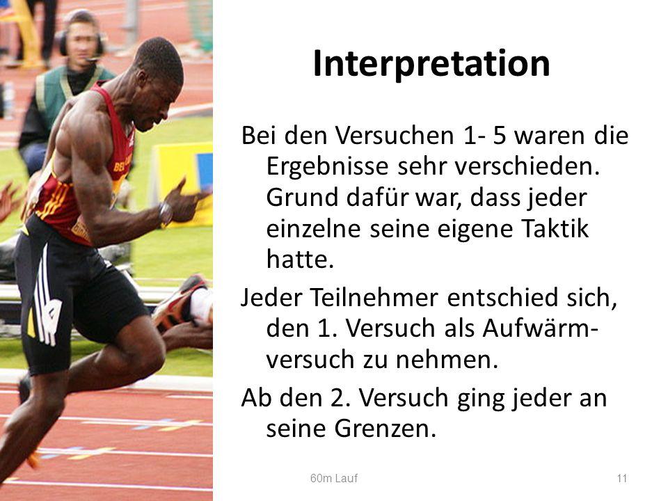 Interpretation Bei den Versuchen 1- 5 waren die Ergebnisse sehr verschieden.