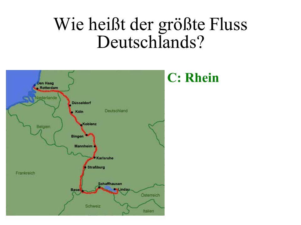 Wie heißt der größte Fluss Deutschlands? A: Elbe B: Spree C: Rhein D: Donau