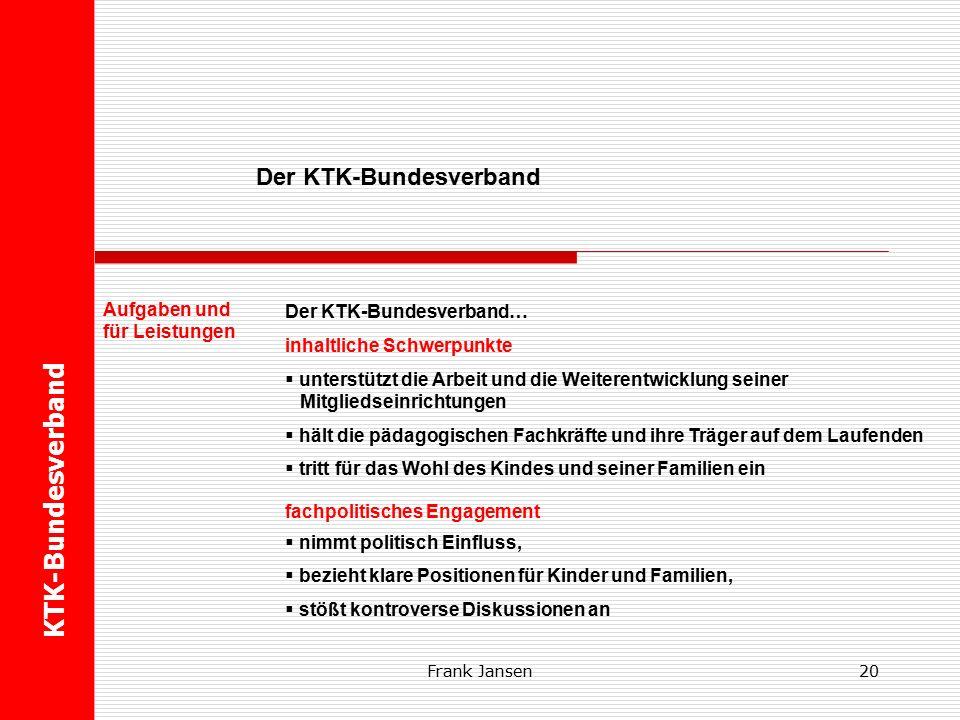 Frank Jansen19 Der KTK-Bundesverband…  ist ein anerkannter Fachverband des Deutschen Caritasverbandes,  steht unter der Aufsicht der Deutschen Bischofskonferenz,  hat seine Geschäftsstelle in Freiburg,  unterhält ein politisches Büro in Berlin,  ist demokratisch aufgebaut.