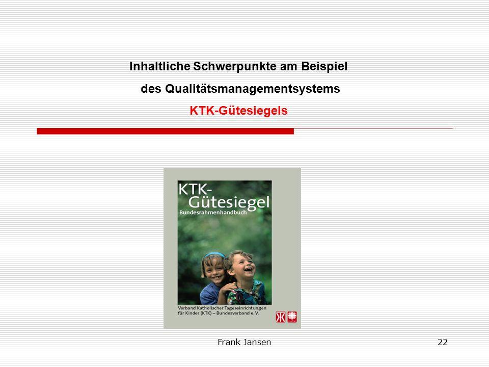 Frank Jansen21 U Der KTK-Bundesverband Inhaltliche Schwerpunkte KTK-Bundesverband