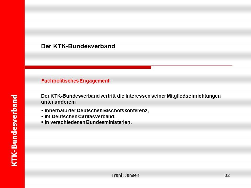 31 U Der KTK-Bundesverband Fachpolitisches Engagement KTK-Bundesverband