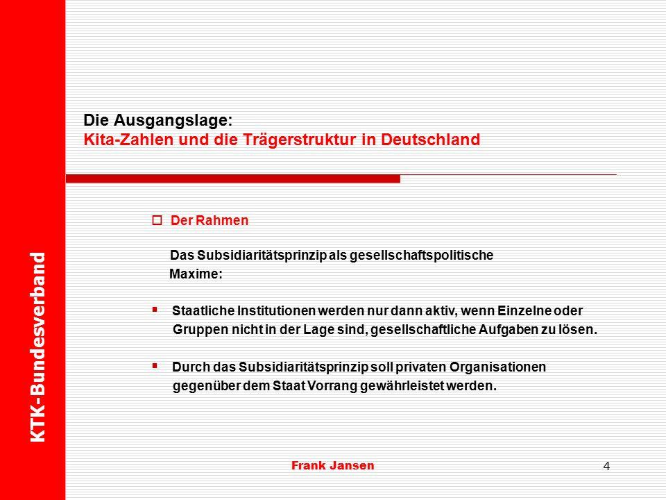 Frank Jansen KTK-Bundesverband Die Ausgangslage: Kita-Zahlen und die Trägerstruktur in Deutschland 3