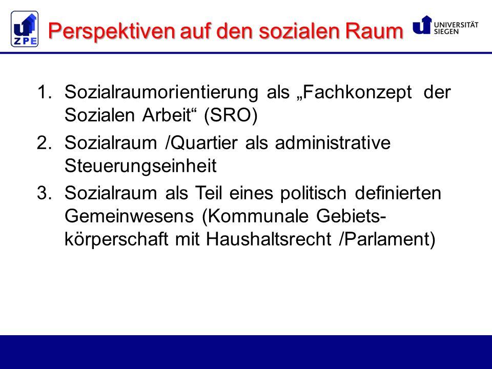 """1.Sozialraumorientierung als """"Fachkonzept der Sozialen Arbeit (SRO) 2.Sozialraum /Quartier als administrative Steuerungseinheit 3.Sozialraum als Teil eines politisch definierten Gemeinwesens (Kommunale Gebiets- körperschaft mit Haushaltsrecht /Parlament) Perspektiven auf den sozialen Raum"""