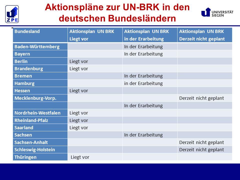 Bundesland Aktionsplan UN BRK Liegt vor Aktionsplan UN BRK in der Erarbeitung Aktionsplan UN BRK Derzeit nicht geplant Baden-Württemberg In der Erarbeitung Bayern In der Erarbeitung BerlinLiegt vor BrandenburgLiegt vor Bremen In der Erarbeitung Hamburg in der Erarbeitung HessenLiegt vor Mecklenburg-Vorp.