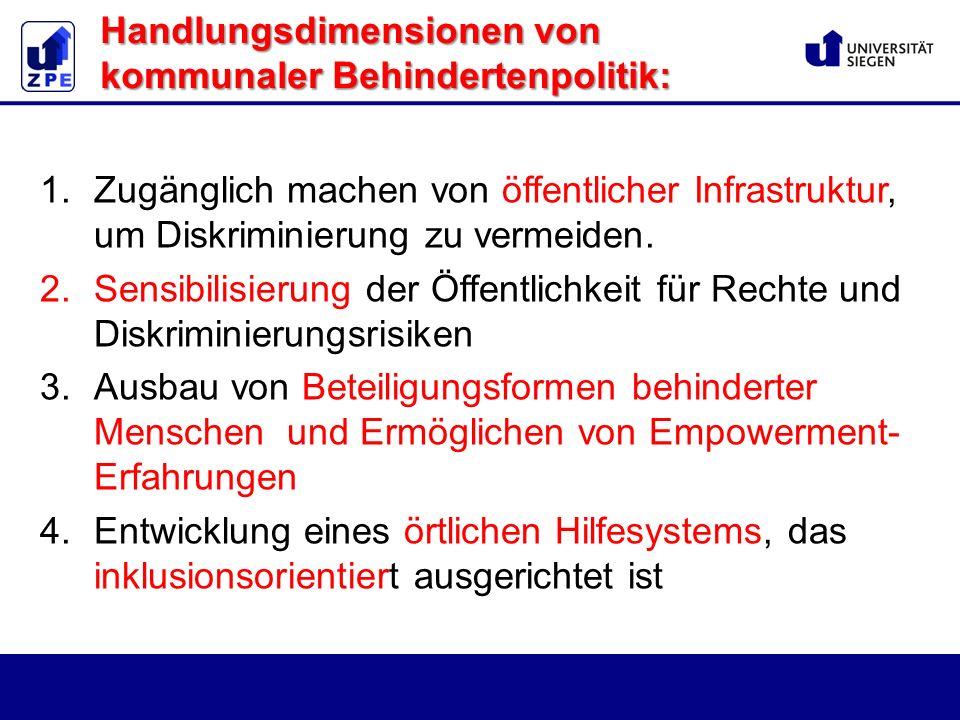 Handlungsdimensionen von kommunaler Behindertenpolitik: 1.Zugänglich machen von öffentlicher Infrastruktur, um Diskriminierung zu vermeiden.