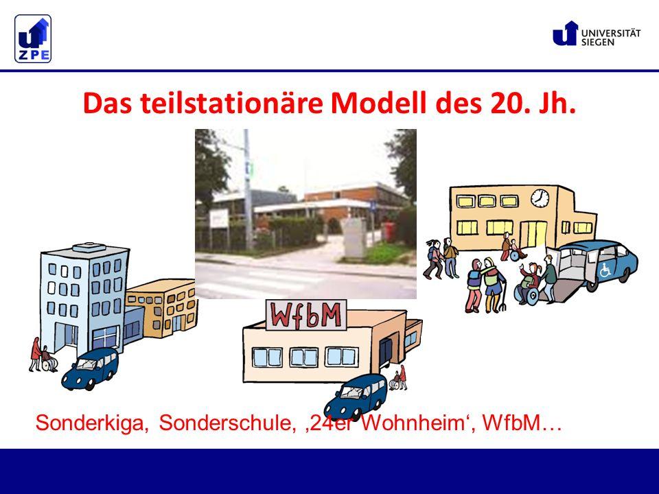 Das teilstationäre Modell des 20. Jh. Sonderkiga, Sonderschule, '24er Wohnheim', WfbM…