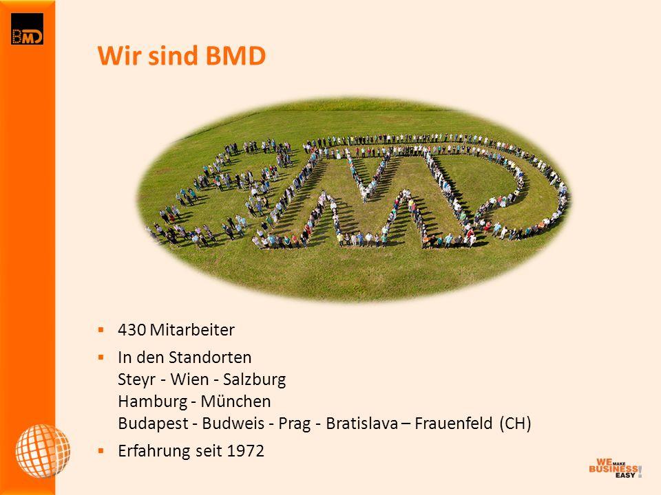 Wir sind BMD  430 Mitarbeiter  In den Standorten Steyr - Wien - Salzburg Hamburg - München Budapest - Budweis - Prag - Bratislava – Frauenfeld (CH)  Erfahrung seit 1972