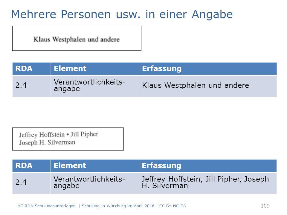 AG RDA Schulungsunterlagen | Schulung in Würzburg im April 2016 | CC BY-NC-SA RDAElementErfassung 2.4 Verantwortlichkeits- angabe Klaus Westphalen und andere Mehrere Personen usw.