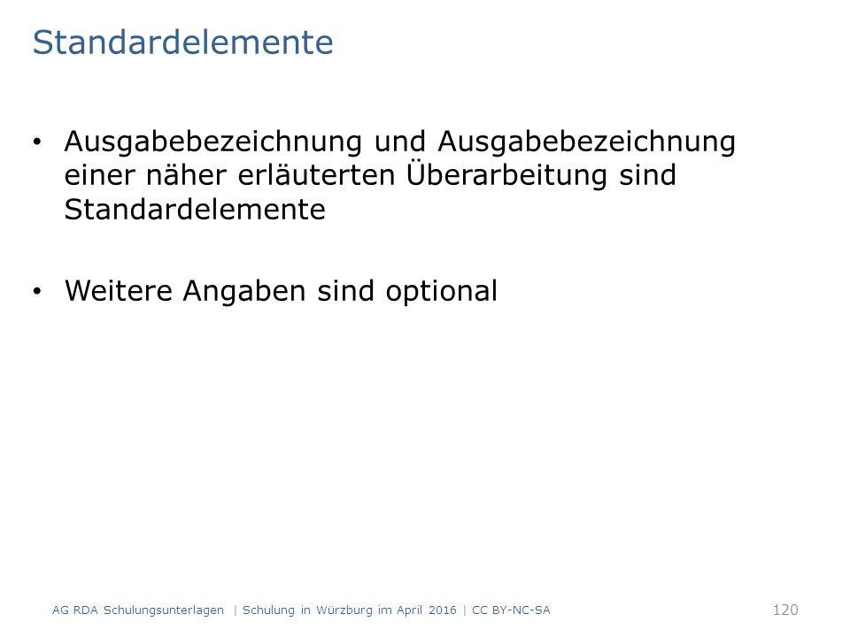 Standardelemente Ausgabebezeichnung und Ausgabebezeichnung einer näher erläuterten Überarbeitung sind Standardelemente Weitere Angaben sind optional AG RDA Schulungsunterlagen | Schulung in Würzburg im April 2016 | CC BY-NC-SA 120