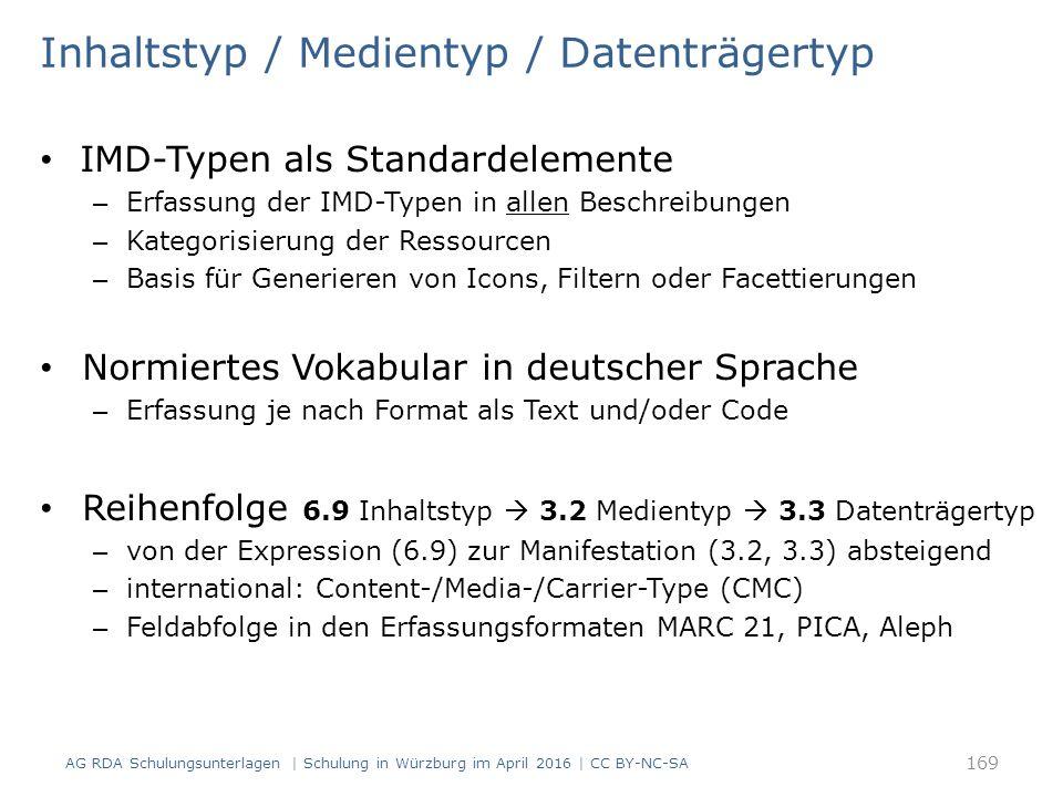 Inhaltstyp / Medientyp / Datenträgertyp IMD-Typen als Standardelemente – Erfassung der IMD-Typen in allen Beschreibungen – Kategorisierung der Ressourcen – Basis für Generieren von Icons, Filtern oder Facettierungen Normiertes Vokabular in deutscher Sprache – Erfassung je nach Format als Text und/oder Code Reihenfolge 6.9 Inhaltstyp  3.2 Medientyp  3.3 Datenträgertyp – von der Expression (6.9) zur Manifestation (3.2, 3.3) absteigend – international: Content-/Media-/Carrier-Type (CMC) – Feldabfolge in den Erfassungsformaten MARC 21, PICA, Aleph 169 AG RDA Schulungsunterlagen | Schulung in Würzburg im April 2016 | CC BY-NC-SA