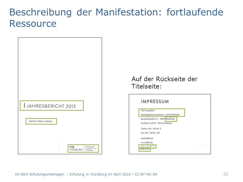 Beschreibung der Manifestation: fortlaufende Ressource Auf der Rückseite der Titelseite: ISSN 1234-5678 31 AG RDA Schulungsunterlagen | Schulung in Würzburg im April 2016 | CC BY-NC-SA