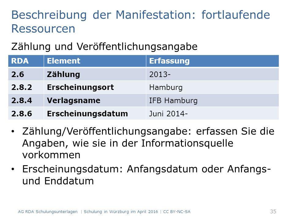 Beschreibung der Manifestation: fortlaufende Ressourcen Zählung und Veröffentlichungsangabe Zählung/Veröffentlichungsangabe: erfassen Sie die Angaben, wie sie in der Informationsquelle vorkommen Erscheinungsdatum: Anfangsdatum oder Anfangs- und Enddatum RDAElementErfassung 2.6Zählung2013- 2.8.2ErscheinungsortHamburg 2.8.4VerlagsnameIFB Hamburg 2.8.6ErscheinungsdatumJuni 2014- 35 AG RDA Schulungsunterlagen | Schulung in Würzburg im April 2016 | CC BY-NC-SA