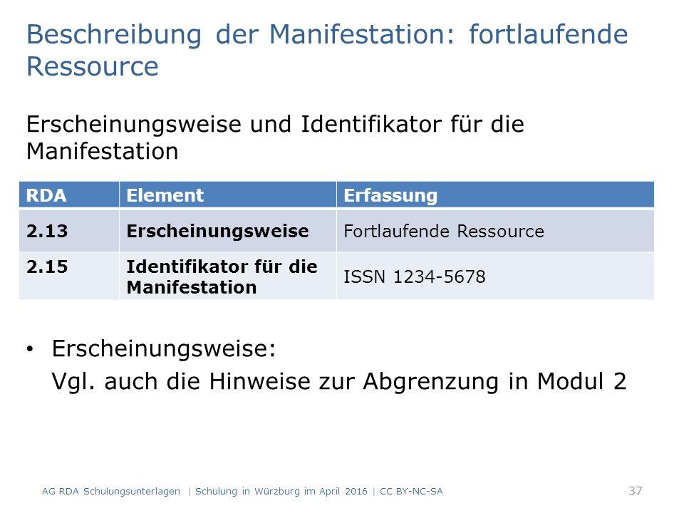 Beschreibung der Manifestation: fortlaufende Ressource Erscheinungsweise und Identifikator für die Manifestation Erscheinungsweise: Vgl.