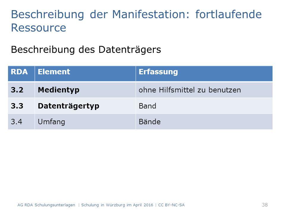 Beschreibung der Manifestation: fortlaufende Ressource Beschreibung des Datenträgers RDAElementErfassung 3.2Medientypohne Hilfsmittel zu benutzen 3.3DatenträgertypBand 3.4UmfangBände 38 AG RDA Schulungsunterlagen | Schulung in Würzburg im April 2016 | CC BY-NC-SA
