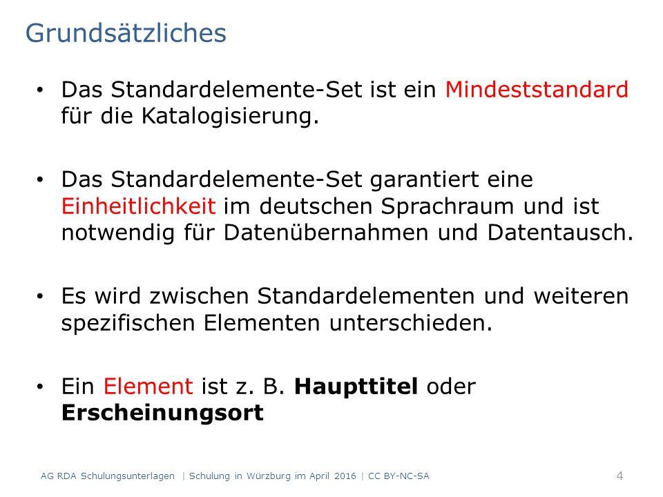 Sonstige Identifikatoren (RDA 2.15.1.4) Erfassung der Identifikatoren – es gibt für den Identifikator kein vorgeschriebenes Anzeigeformat* – die Art des Identifikators oder der Name der Agentur wird vorangestellt RDAElementErfassung 2.15 Identifikator für die Manifestation ISO/FDIS 13611:2014(E) 165 AG RDA Schulungsunterlagen | Schulung in Würzburg im April 2016 | CC BY-NC-SA