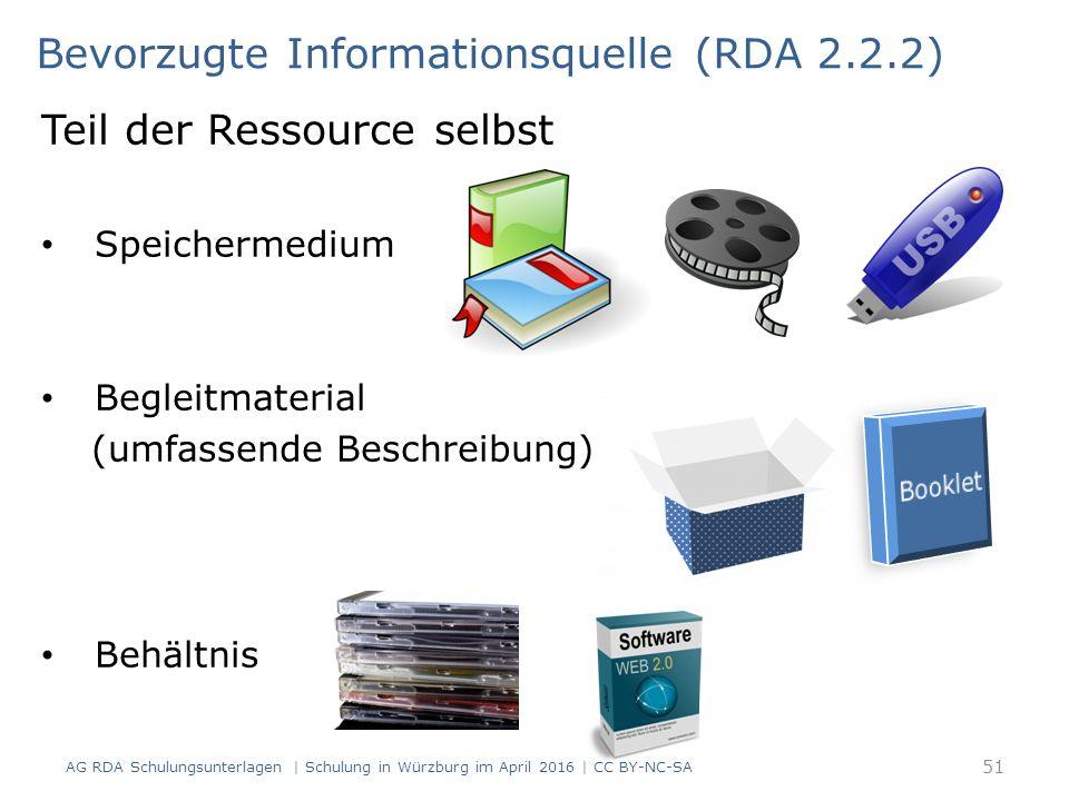Teil der Ressource selbst Speichermedium Begleitmaterial (umfassende Beschreibung) Behältnis Bevorzugte Informationsquelle (RDA 2.2.2) 51 AG RDA Schulungsunterlagen | Schulung in Würzburg im April 2016 | CC BY-NC-SA
