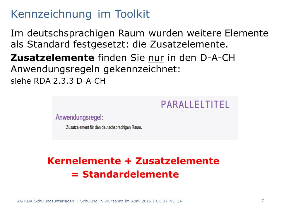 Informationsquellen für die verschiedenen Arten der Beschreibung laut RDA 1.5: umfassende Beschreibung analytische Beschreibung hierarchische Beschreibung es gelten je nach Beschreibungsart unterschiedliche Informationsquellen (RDA 2.1.1) die Erscheinungsweise der Ressource wirkt sich ebenfalls auf die Wahl der Informationsquelle aus (RDA 1.1.3) 48 AG RDA Schulungsunterlagen | Schulung in Würzburg im April 2016 | CC BY-NC-SA