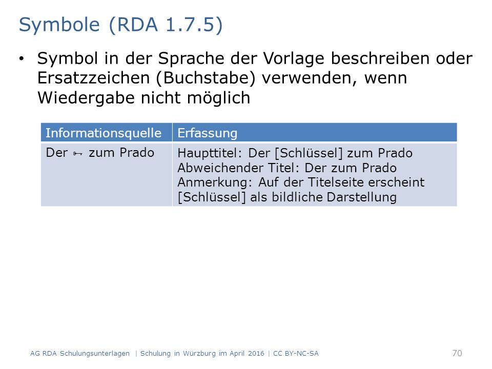 Symbol in der Sprache der Vorlage beschreiben oder Ersatzzeichen (Buchstabe) verwenden, wenn Wiedergabe nicht möglich 70 Symbole (RDA 1.7.5) AG RDA Schulungsunterlagen | Schulung in Würzburg im April 2016 | CC BY-NC-SA InformationsquelleErfassung Der  zum PradoHaupttitel: Der [Schlüssel] zum Prado Abweichender Titel: Der zum Prado Anmerkung: Auf der Titelseite erscheint [Schlüssel] als bildliche Darstellung