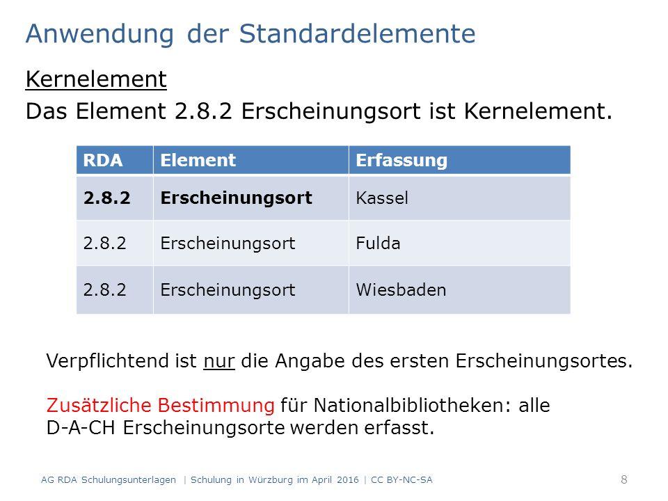 Mehrere Verlage Sind in Ressource mehrere Verlage angegeben:  erster/typografisch hervorgehobener Verlag Standardelement  weitere Verlage dürfen erfasst werden Beispiel: Akademischer Verlag Gärkeller Verlag München RDAElementErfassung 2.8.4VerlagsnameAkademischer Verlag 2.8.4VerlagsnameGärkeller Verlag AG RDA Schulungsunterlagen | Schulung in Würzburg im April 2016 | CC BY-NC-SA 149
