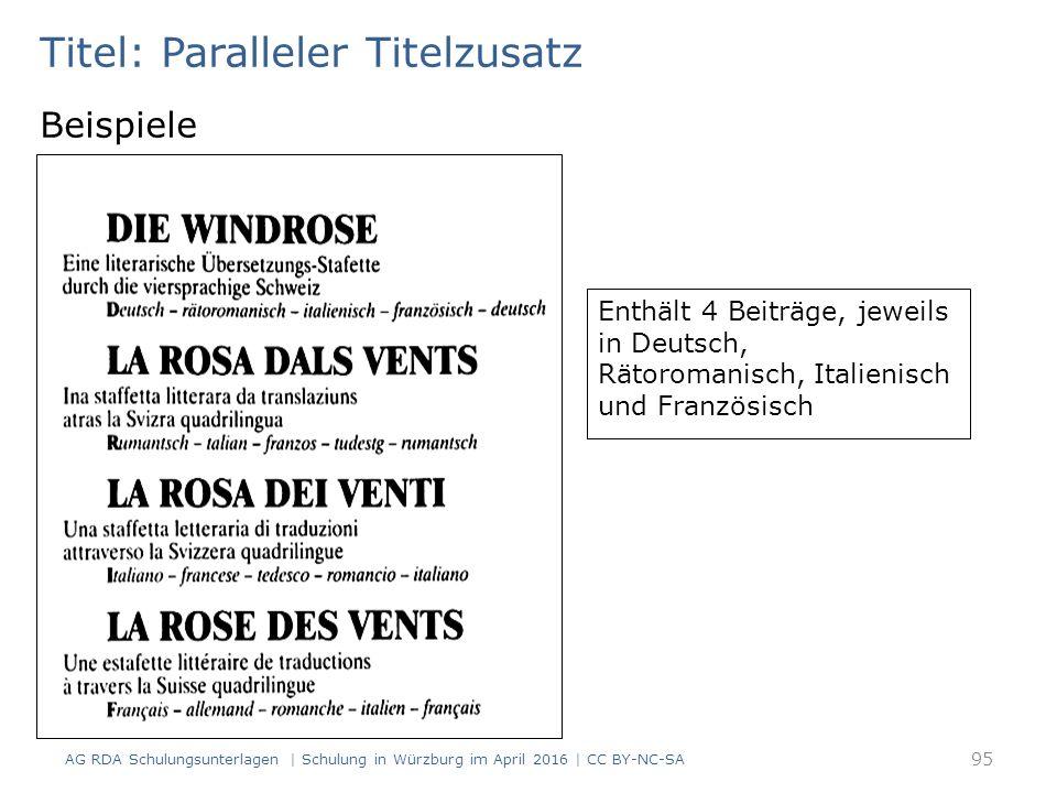 Titel: Paralleler Titelzusatz Beispiele Enthält 4 Beiträge, jeweils in Deutsch, Rätoromanisch, Italienisch und Französisch 95 AG RDA Schulungsunterlagen | Schulung in Würzburg im April 2016 | CC BY-NC-SA