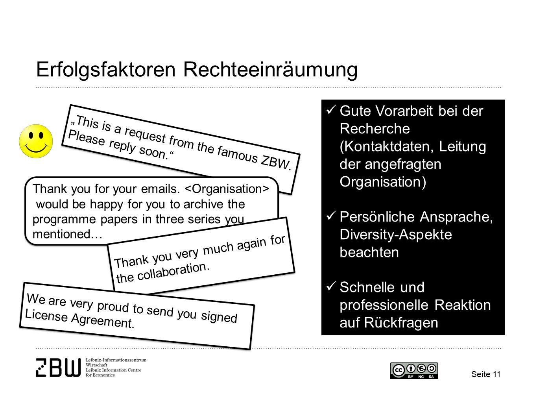 "Seite 11 Erfolgsfaktoren Rechteeinräumung ""This is a request from the famous ZBW."