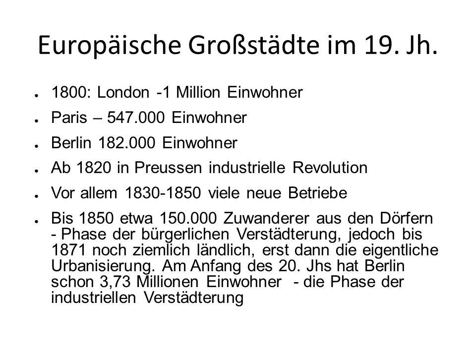 Europäische Großstädte im 19. Jh.