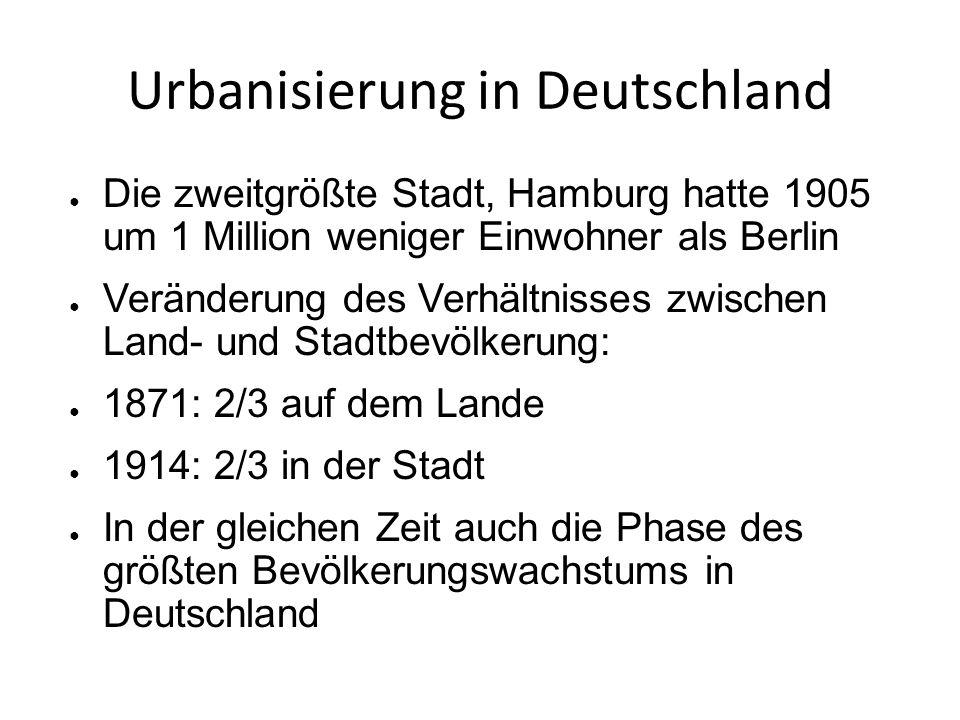 Urbanisierung in Deutschland ● Die zweitgrößte Stadt, Hamburg hatte 1905 um 1 Million weniger Einwohner als Berlin ● Veränderung des Verhältnisses zwischen Land- und Stadtbevölkerung: ● 1871: 2/3 auf dem Lande ● 1914: 2/3 in der Stadt ● In der gleichen Zeit auch die Phase des größten Bevölkerungswachstums in Deutschland
