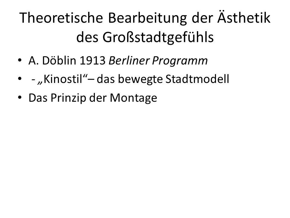Theoretische Bearbeitung der Ästhetik des Großstadtgefühls A.
