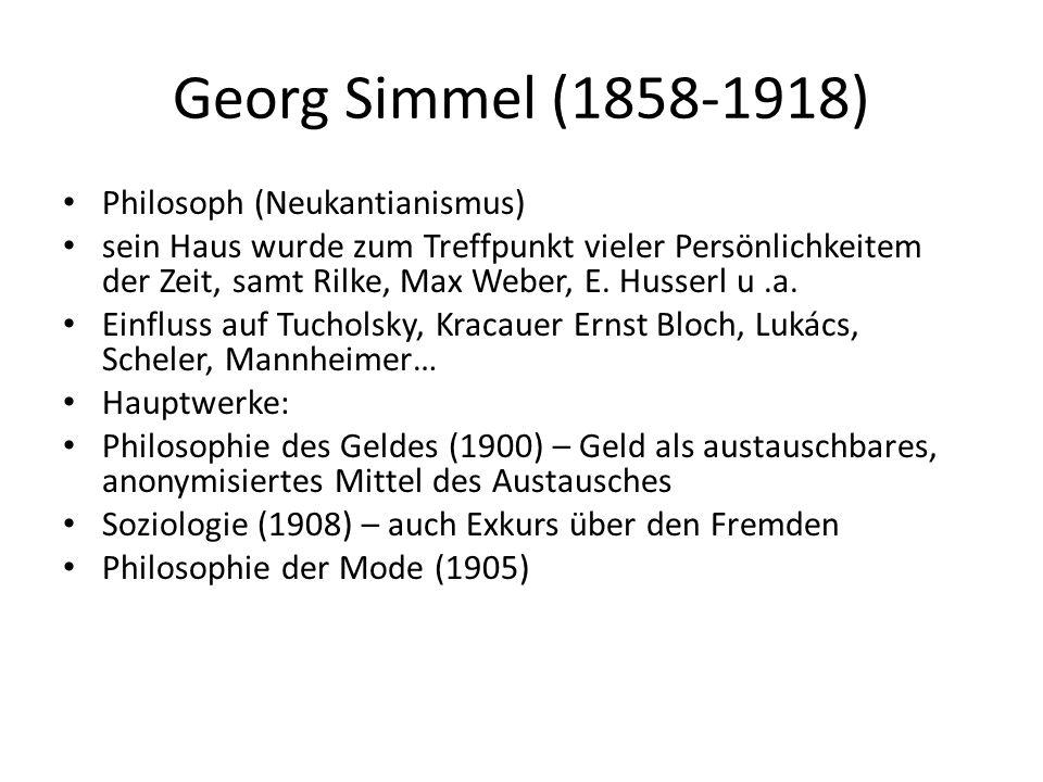 Georg Simmel (1858-1918) Philosoph (Neukantianismus) sein Haus wurde zum Treffpunkt vieler Persönlichkeitem der Zeit, samt Rilke, Max Weber, E.